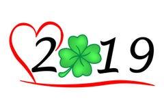 Année chaleureuse 2019 avec la chance, meilleurs voeux pendant l'année illustration de vecteur