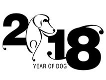 Année chinoise de chien avec les chiffres 2018 Photo libre de droits