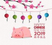 Année chinoise de fleur nouvelle de porc, de lanterne et de fond Bonne année moyenne de caractères chinois illustration stock