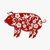 Année chinoise de signe de zodiaque de porc, porc rouge de coupe de papier, nouvelle année chinoise heureuse 2019 ans du porc illustration de vecteur