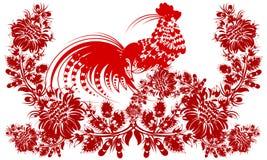 Année civile chinoise de coq romantique de peinture de flowe de coq Photo stock
