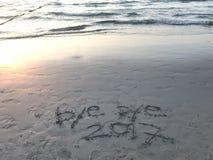 Année 2017 d'au revoir sur la plage Image stock
