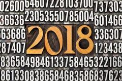 Année 2018 dans le type d'impression typographique Photographie stock libre de droits