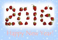 Année de carte de Noël nouvelle avec des nombres réglés avec des fraises (Roma Photos libres de droits