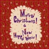 Année de carte de voeux nouvelle et Joyeux Noël Photos stock