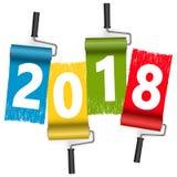 année 2018 de concept de rouleau de peinture nouvelle Photos libres de droits