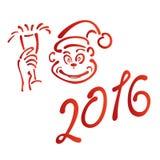 Année de la nouvelle année 2016 de singe rouge Images stock