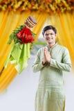 Année de marathi de padwa de Gudi nouvelle, jeune festival de célébration indien de padwa de gudi photo stock