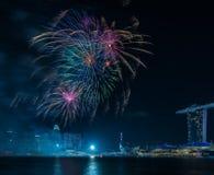 Année de Marina Bay /Lunar de feux d'artifice nouvelle/nouvelle année Photographie stock