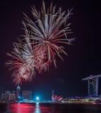Année de Marina Bay /Lunar de feux d'artifice nouvelle/nouvelle année Images stock