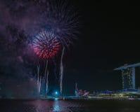 Année de Marina Bay /Lunar de feux d'artifice nouvelle/nouvelle année Photos stock