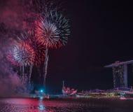 Année de Marina Bay /Lunar de feux d'artifice nouvelle/nouvelle année Photos libres de droits