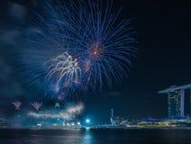 Année de Marina Bay /Lunar de feux d'artifice nouvelle/nouvelle année Image libre de droits