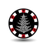 Année de Noël de casino de tisonnier de puce nouvelle Illustration d'icône ENV 10 sur facile blanc de séparer le fond utilisation Image stock