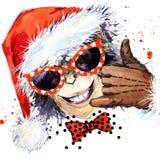 Année de singe Partie fraîche de singe Illustration d'aquarelle Singe Santa Claus Photos libres de droits