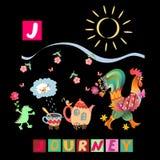 Année du coq Alphabet anglais de bande dessinée mignonne avec l'image et le mot colorés Vecteur ABC d'enfants Lettre J Images libres de droits