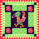 Année du coq Bel édredon avec le coq mignon et les fleurs lumineuses Images stock