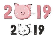 Année du symbole 2019 chinois de porc nouvelle images libres de droits