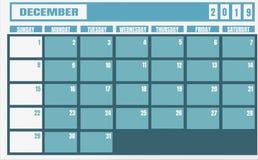 Année et planificateur de 2019 décembre de calendrier pour des tâches de planification et illustration libre de droits