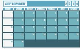 Année et planificateur de 2019 septembre de calendrier pour des tâches de planification et illustration de vecteur