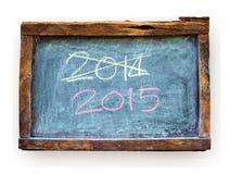 Année numéro 2015 écrit la craie sur le tableau noir Photographie stock libre de droits