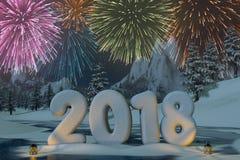 Année 2018 sculptée dans la neige avec des feux d'artifice photographie stock libre de droits