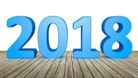 année 2018 sur le plancher en bois Photographie stock libre de droits