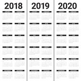 Année 2018 2019 vecteur de 2020 calendriers Photographie stock libre de droits