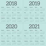 Année 2018 2019 2020 vecteur de 2021 calendriers illustration libre de droits
