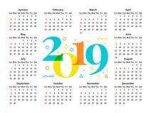 2019 années civiles Illustration de vecteur Planificateur de calibre photographie stock