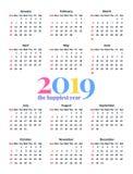 2019 années civiles Illustration de vecteur Planificateur de calibre image stock