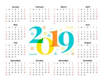 2019 années civiles Illustration de vecteur Planificateur de calibre illustration libre de droits