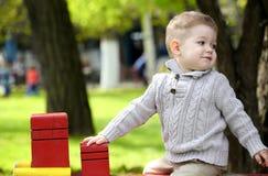 2 années de bébé garçon sur le terrain de jeu Image libre de droits