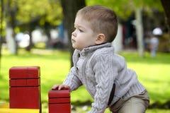 2 années de bébé garçon sur le terrain de jeu Photos stock