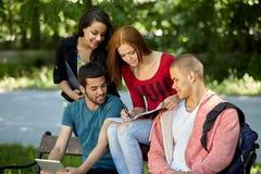 Années de l'adolescence étudiant à l'extérieur Images stock