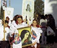 Années de l'adolescence célébrant le saint Mary Photographie stock