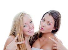 Années de l'adolescence du signe V Photos libres de droits