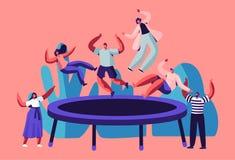 Années de l'adolescence heureuses sautant sur le trempoline, encourager d'amis Les jeunes ayant le saut d'amusement et rebondissa illustration stock