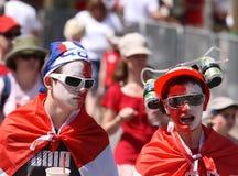 Années de l'adolescence mâles le jour du Canada Images libres de droits