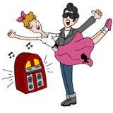 Années '50 de rock d'houblon de chaussette dansant des couples illustration de vecteur