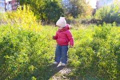 1 années mignonnes de fille marchant en automne dehors Photos stock