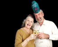 Années neuves de couples de réception Photographie stock