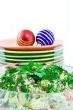 années neuves de salade des plaques s de babioles Images stock