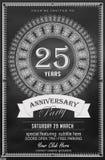 25 années noires et blanches d'anniversaire de calibre de conception illustration libre de droits