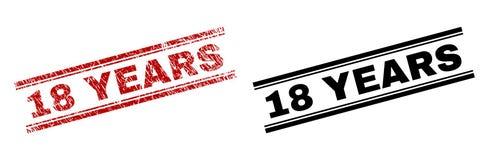 18 ANNÉES texturisées et propres rayées d'impression de timbre Photo libre de droits