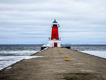 Ann altany latarni morskiej molo na jezioro michigan zachodnim wybrzeżu Zdjęcie Stock