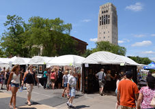Ann Arbor Art Fair and campus. ANN ARBOR, MI - JULY 20: Crowds at the Ann Arbor Art Fairs, taking place near the University of Michigan campus July 18-21, 2012 Stock Images