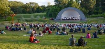 Ann Arbor Civic Band esegue al parco ad ovest immagini stock libere da diritti