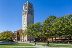 Burton Memorial Tower at University of Michigan. ANN ARBOR, MI/USA - OCTOBER 20, 2017: Burton Memorial Tower on the campus of the University of Michigan Stock Photo