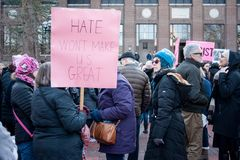 Ann Arbor Michigan 2018 Women`s March. On Saturday, January 20th, 2018, unite in Ann Arbor to rally again!! In response to overwhelming demand, the organizers of Stock Photography